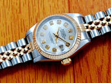 LADY ROLEX DATEJUST TWO TONE 18K/SS DATEJUST QUICKSET W/ FACTORY ROLEX SILVER DIAMOND DIAL
