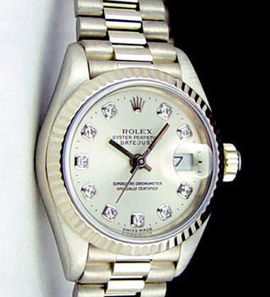 LADY ROLEX 18K WHITE GOLD PRESIDENT QUICKSET W/ FACTORY SILVER DIAMOND DIAL
