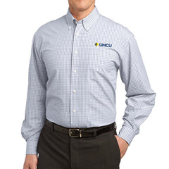 UMCU Port Authority Men's Plaid Easy Care Shirt - White