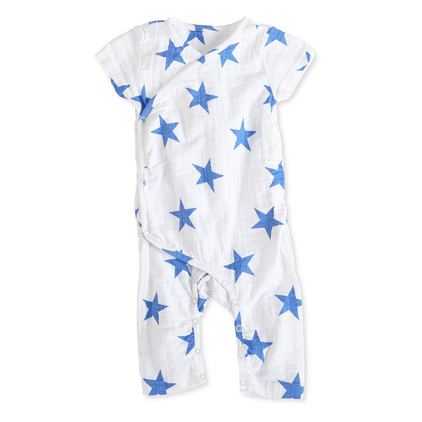 aden + anais - Short Sleeve Kimono One-Piece in Ultramarine Star Print