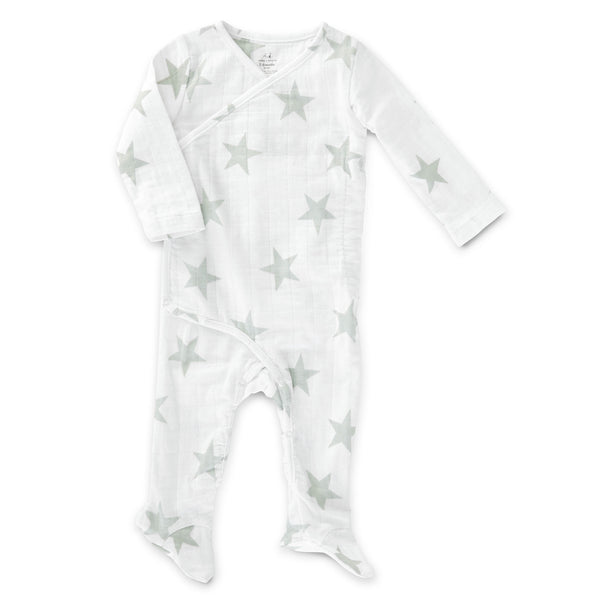 aden + anais - Long Sleeve Kimono One-Piece in Micro Chip Star Print