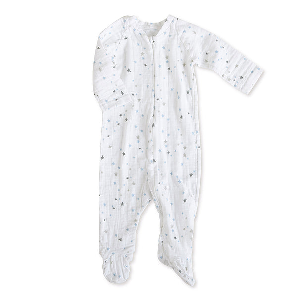 aden + anais - Long Sleeve Zipper One-Piece in Night Sky Starburst Print