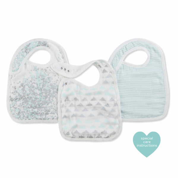 aden + anais - 3 pack Silky Burpy Bib- Metallic Skylight Birch