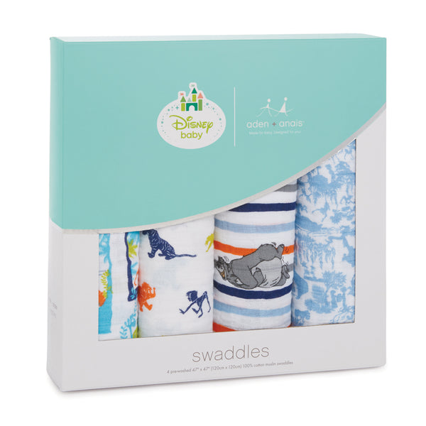 aden + anais - 4 pack Disney Baby Classic Swaddle- The Jungle Book