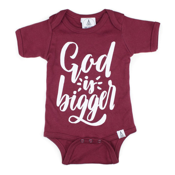 God is Bigger Onesie in Maroon