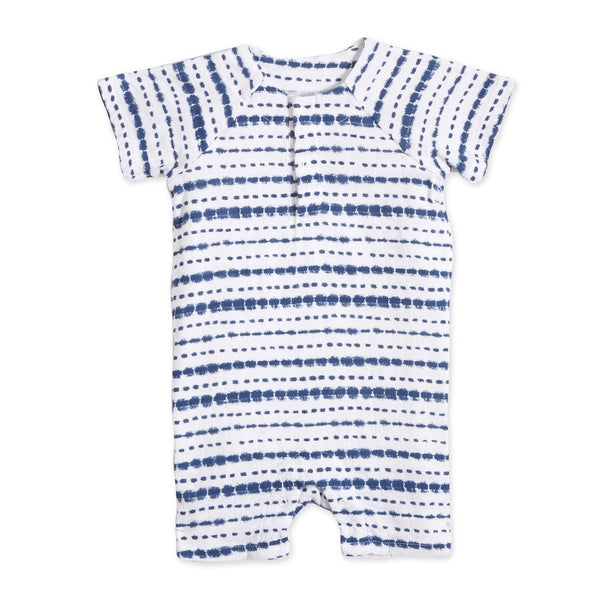 aden + anais Short Sleeve Henley One-piece in Indigo Stripe Shibori