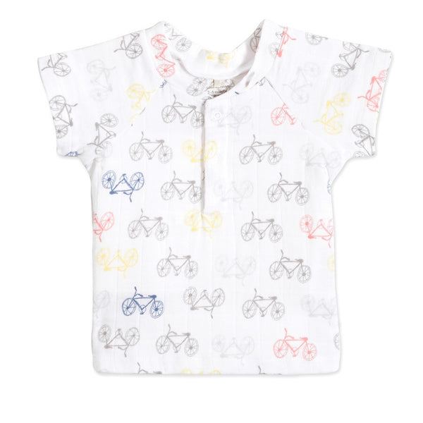 aden + anais Henley Short Sleeve T-Shirt in Cycles Print