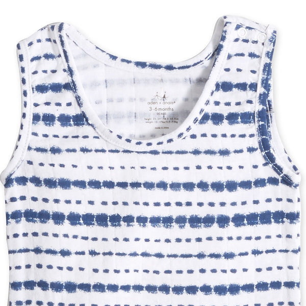 aden + anais Tank Top Body Suit in Indigo Stripe Shibori