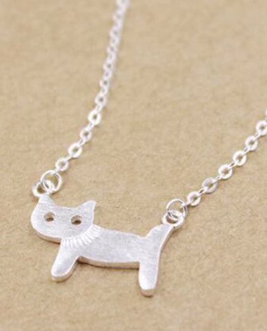 Anar 925 Silver Cute Cat Animal Necklace