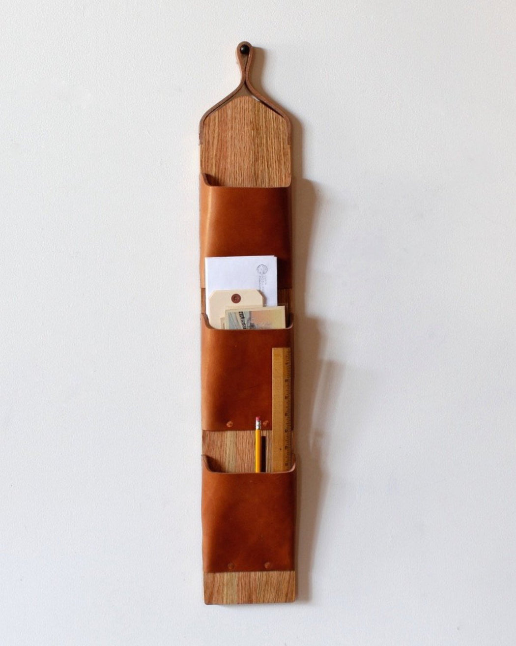 Lostine leather and wood wall letter holder