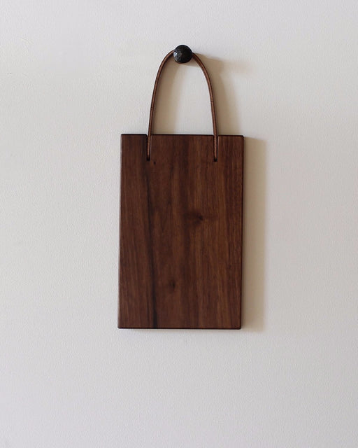 Lostine franklin cutting board 7 x 11 black walnut and leather