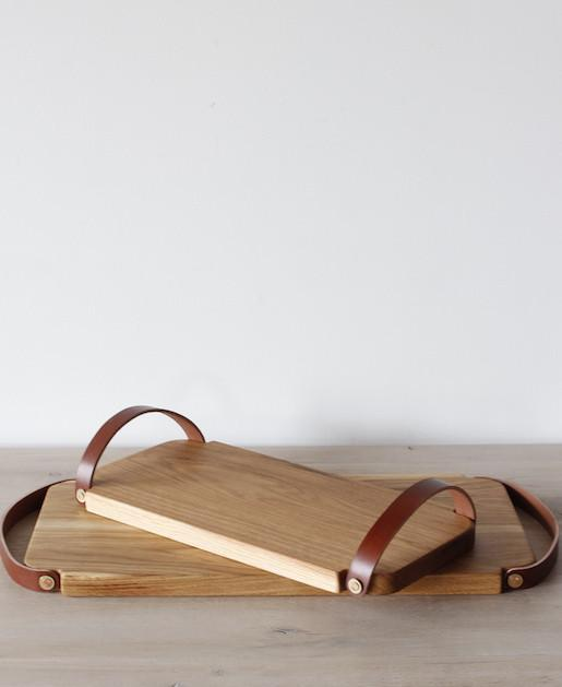 Lostine leather and wood Fitler serving board