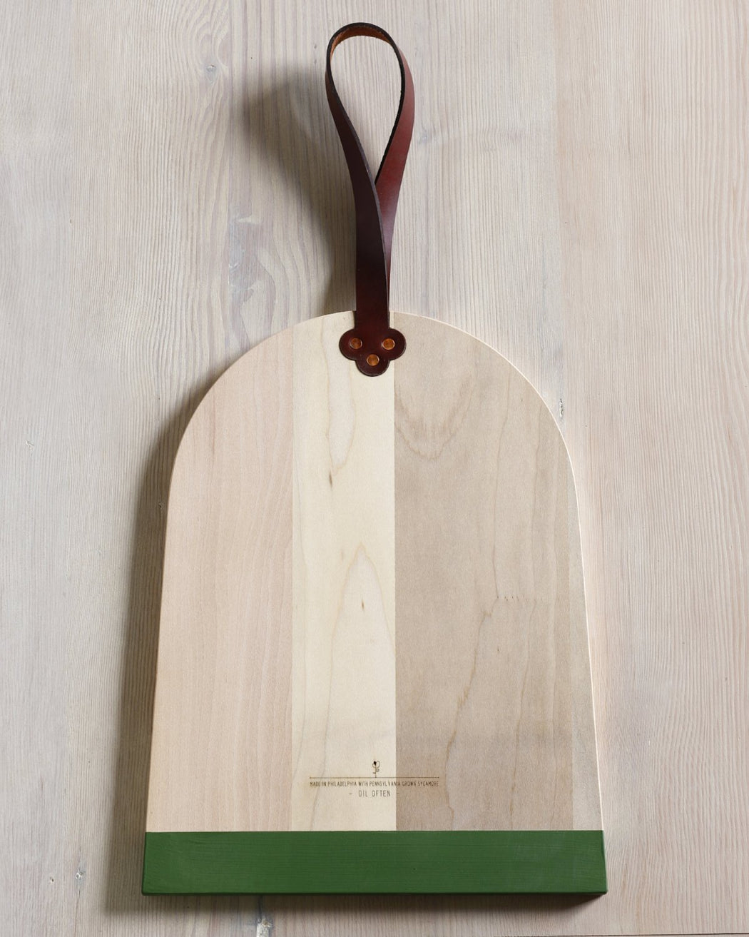 broom cutting board with engraving and milk paint