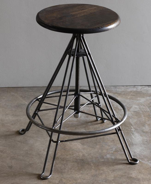 LOSTINE WOOD AND IRON DRAFTING STOOL WITHOUT BACK