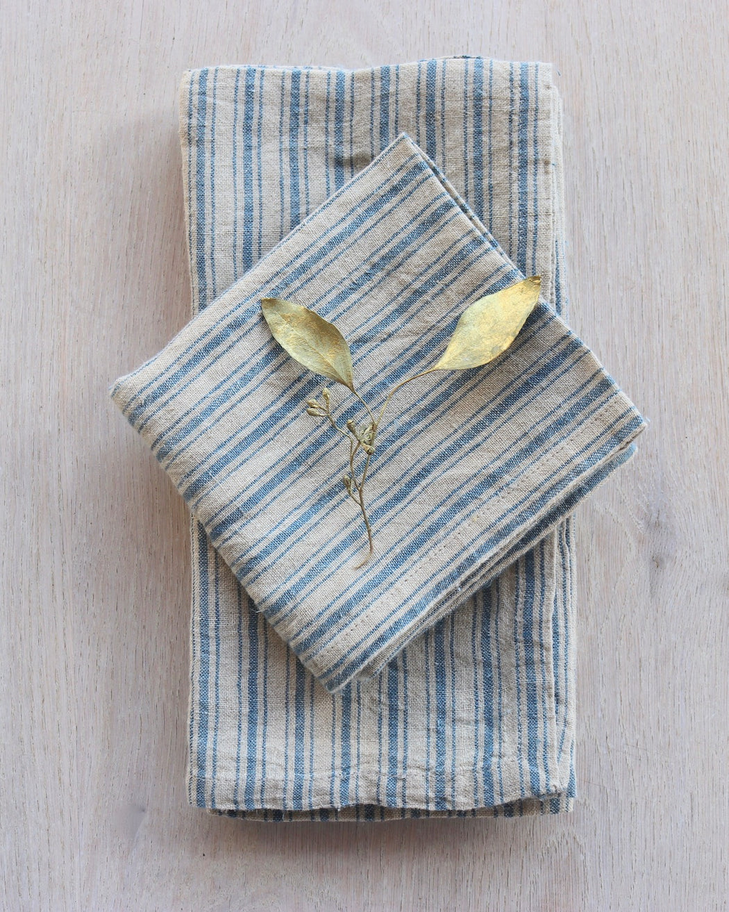 Chambray Stripe Linen Napkins /  Set 4