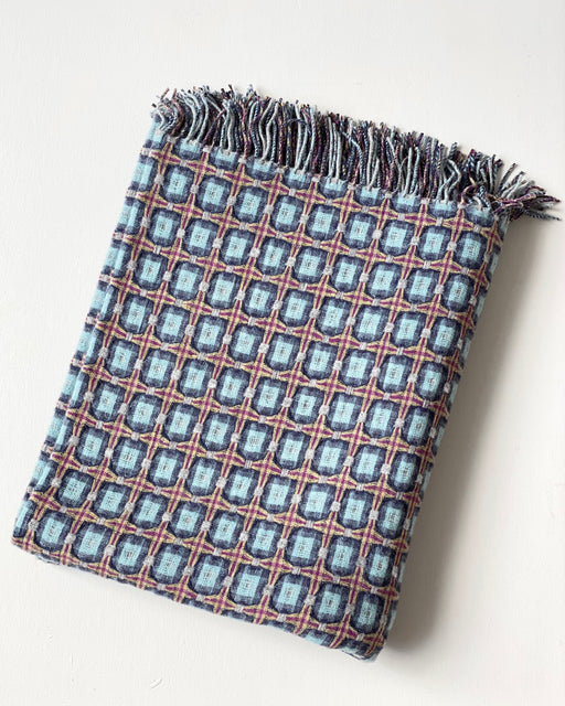 Basketweave Throw - Atlantic Blue