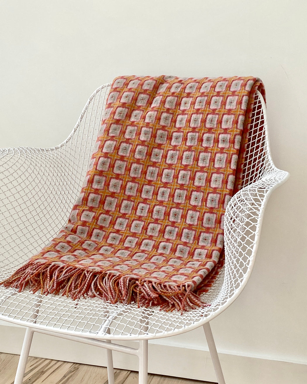Basketweave throw - Terra-cotta