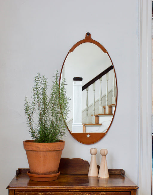 Fairmount Leather Long Oval Mirror