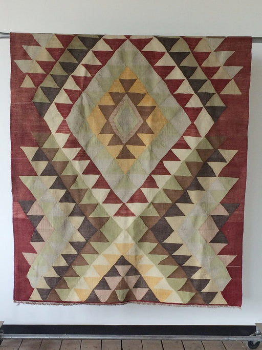 Lostine Vintage diamond Kilim Rug hand made