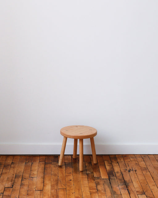 Assorted wooden decorative  Kelly stools for home decor and storage.  Made by Lostine in Philadelphia. Solid oak decorative stool.  Simple Scandinavian design, interior design.
