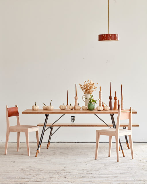 LOSTINE - DINING SCENE WITH NO.24 CHAIR, BRANDYWINE DINING TABLE, SARAH PENDANT, AND CANDLE HOLDERS