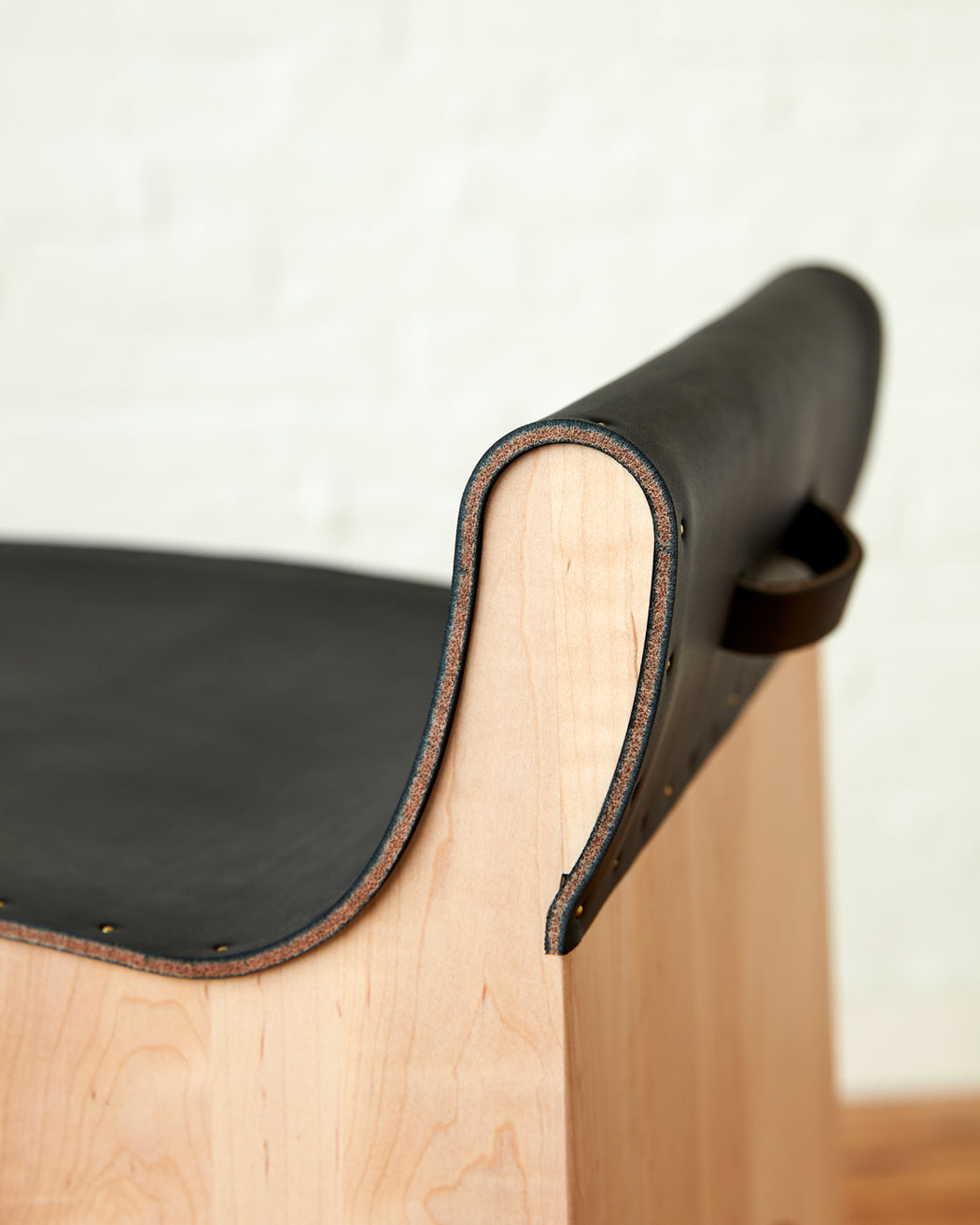Jack Leather and Wood Stool - Black