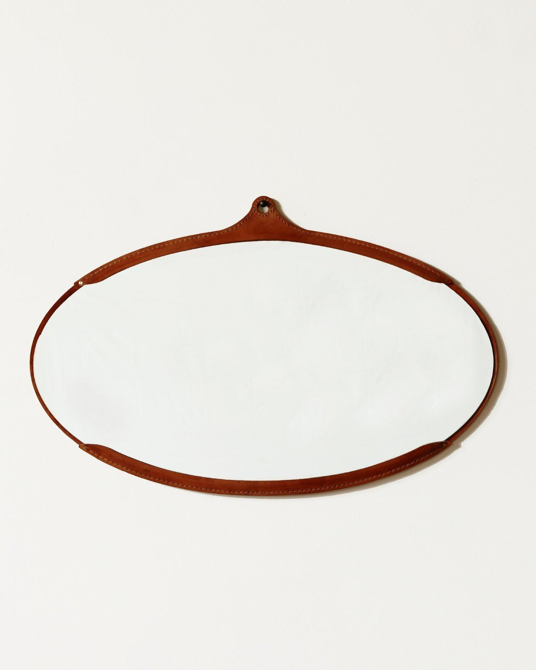 Lostine Fairmount wide oval leather mirror