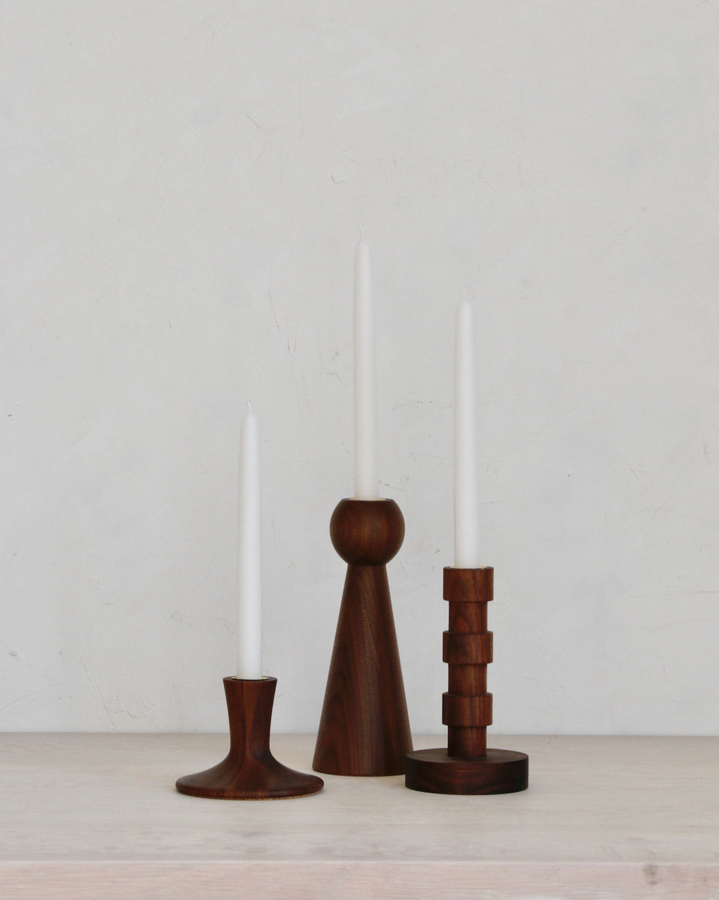 Walnut Candle Holder Deluxe Gift Set