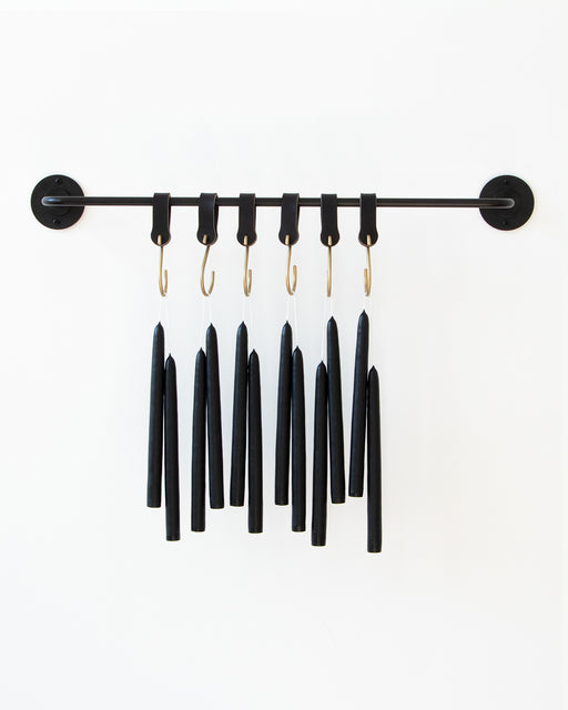 "Solid Black 10"" Taper Candles, Set of 12"
