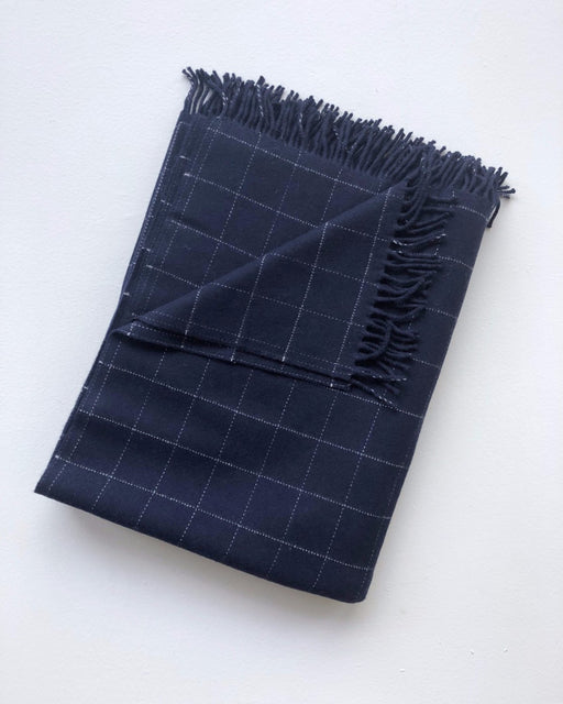 Windowpane Throw - Navy - Textiles - Lostine