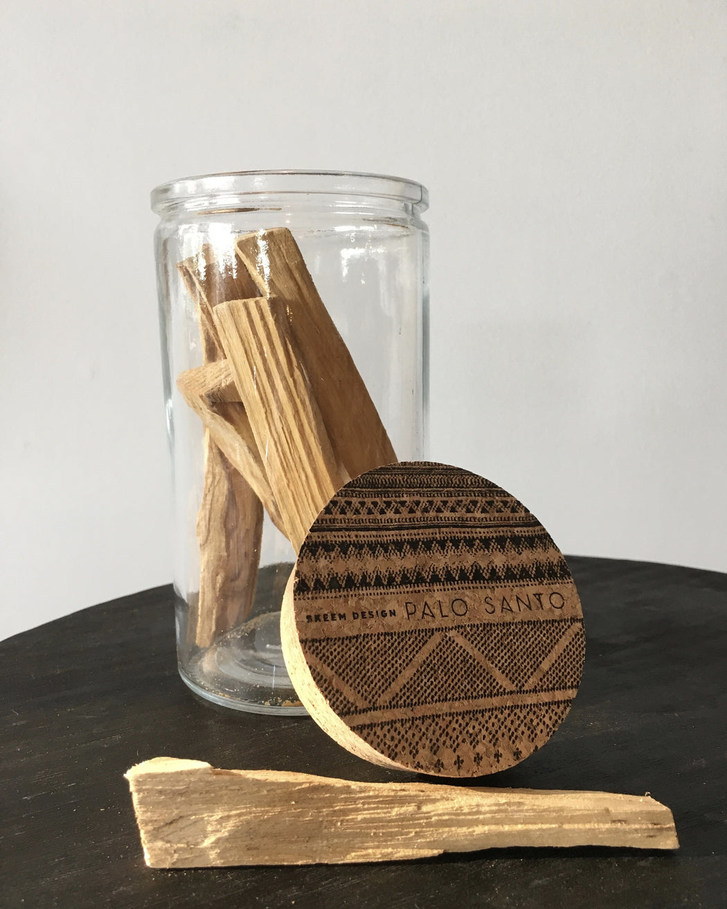 Palo Santo scented sticks in container