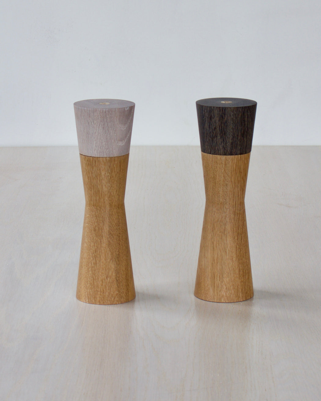wooden pepper mill and salt grinder