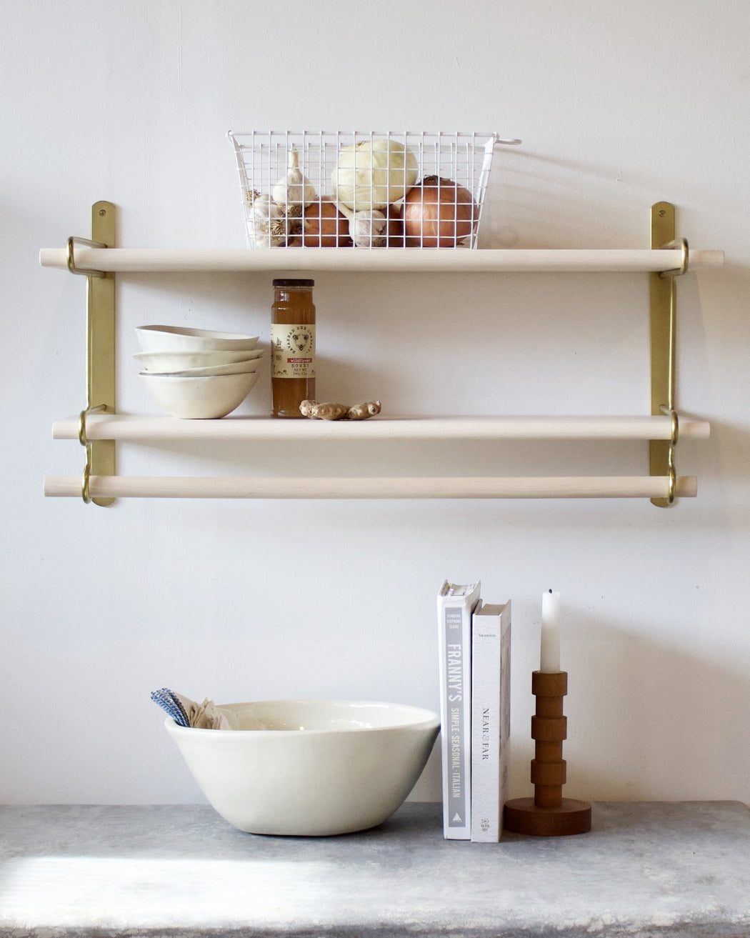 Wall Shelf With Metal Brackets For Kitchen Or Bathroom Or Office ...