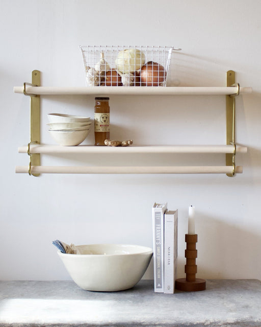 wall shelf with metal brackets for kitchen or bathroom or office