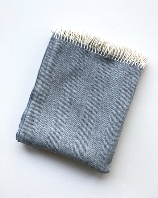 grey herringbone wool throw