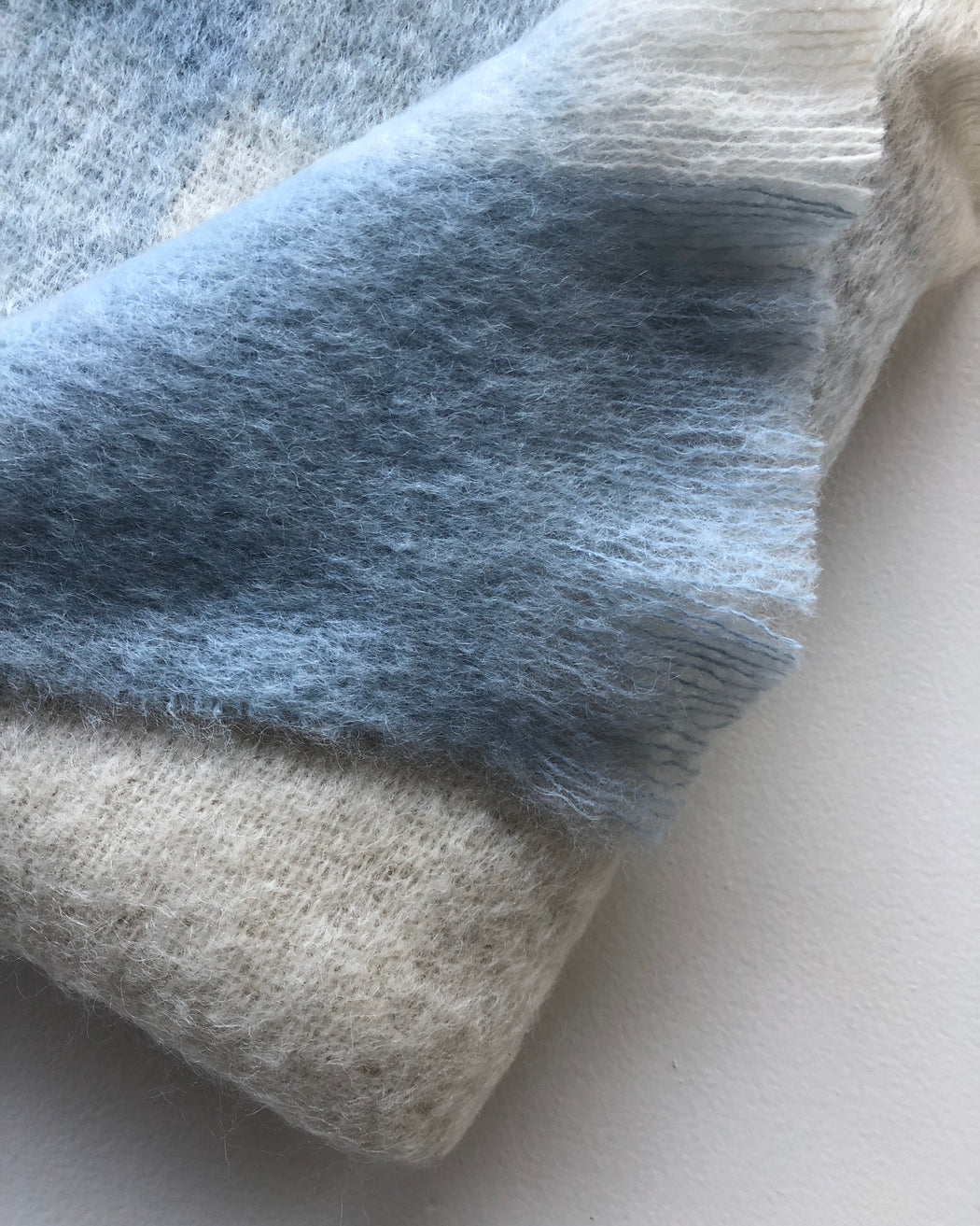 Mohair Throw - Blue , White & Bone Check