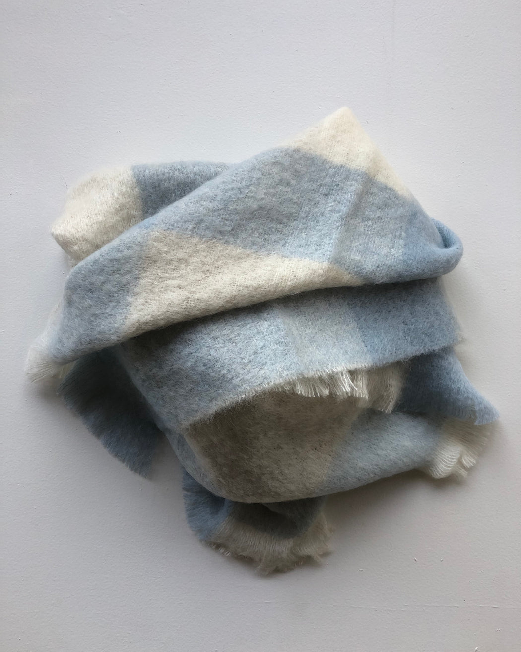 Mohair Throw - Blue , White & Bone Check - Textiles - Lostine