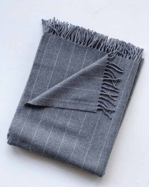 charcoal pinstripe throw