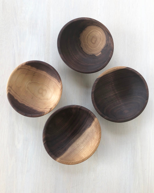 Set 4 wood bowls - black walnut - Kitchen - Lostine