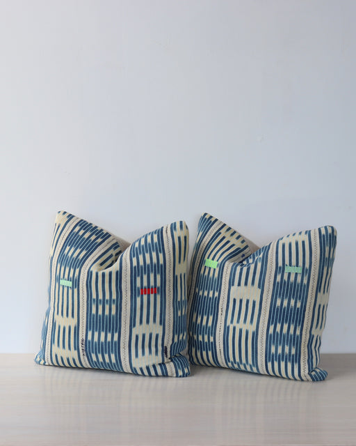 vintage blue African stripe cloth pillow