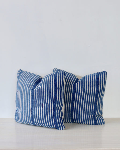 Blue Stripe African Cloth Pillow - Pair No 5