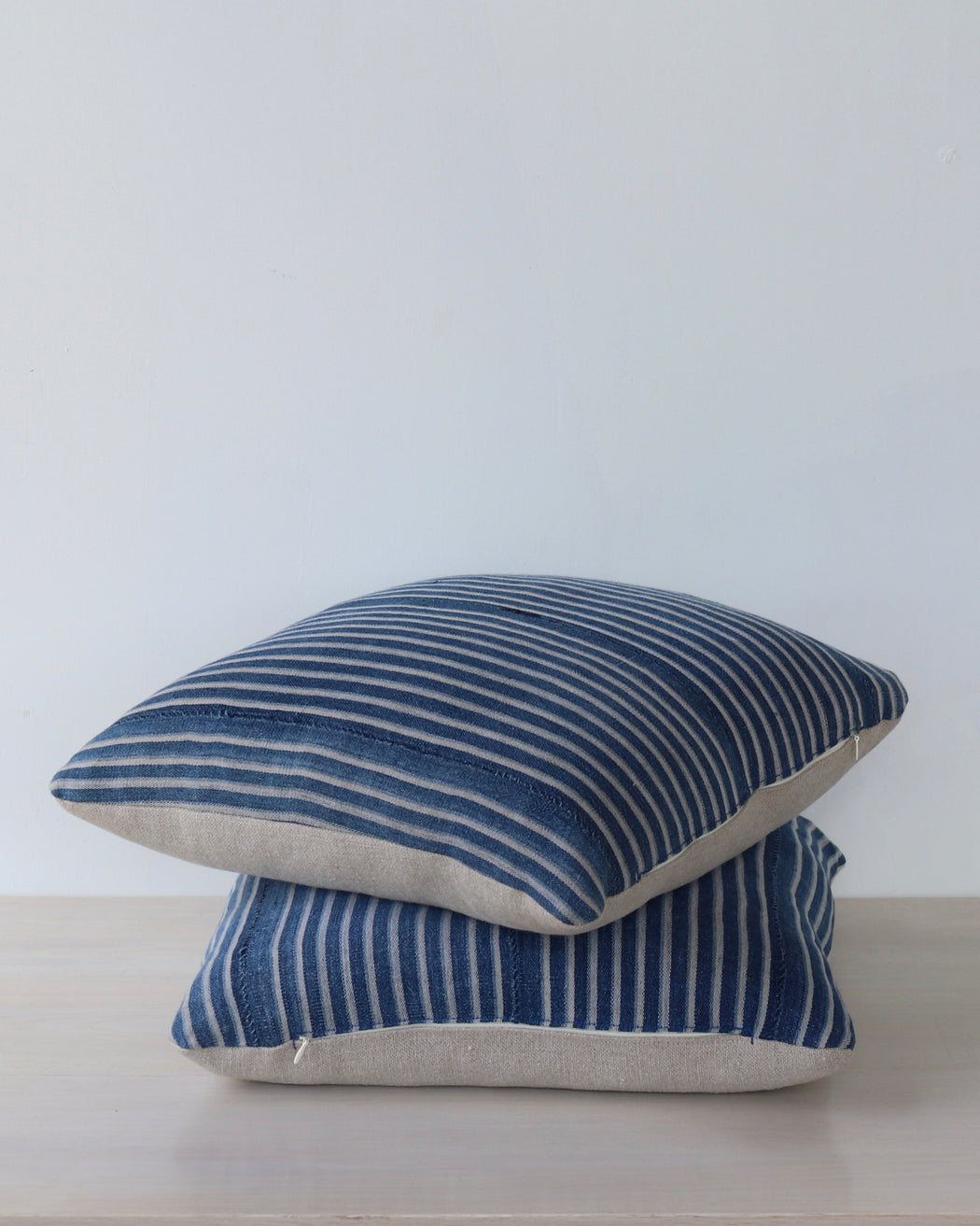 Blue Stripe African Cloth Pillow - Pair No 5 - Decorative Accessories - Lostine