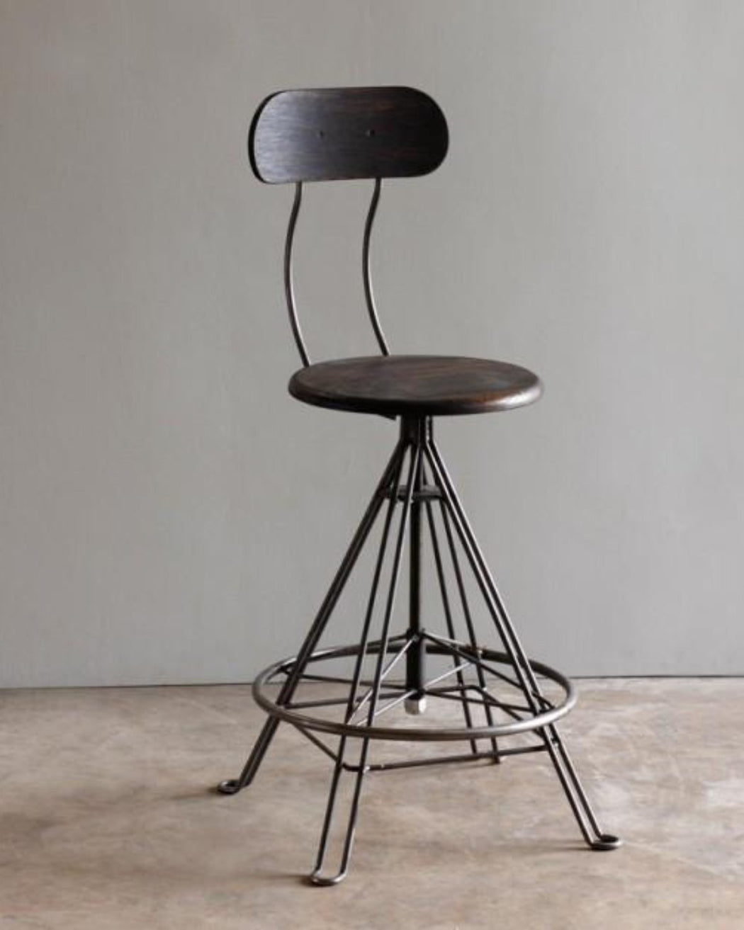 Lostine Industrial Drafting Stool Wood And Iron Swivel Base Usa ...