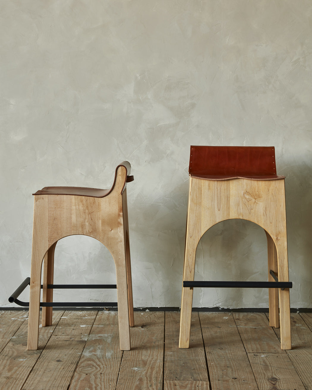 Jack Leather and Wood Stool