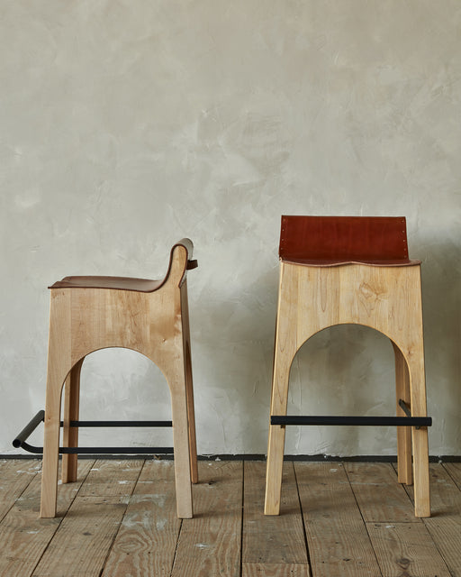 Jack Stool - leather and wood - Lostine