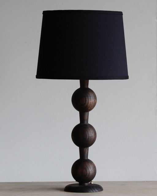 Lostine hugo wood table lamp dark wash finish black shade