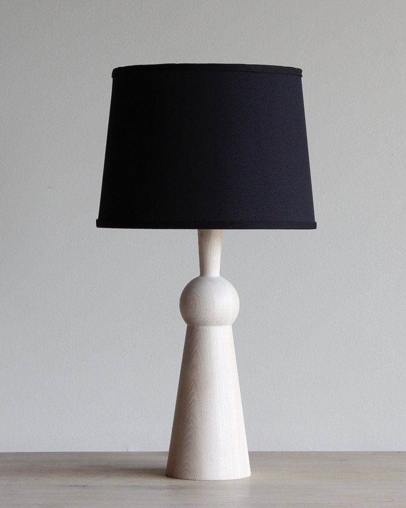 LOSTINE BELLA SKIRT TABLE LAMP WITH SHADE - WHITEWASH