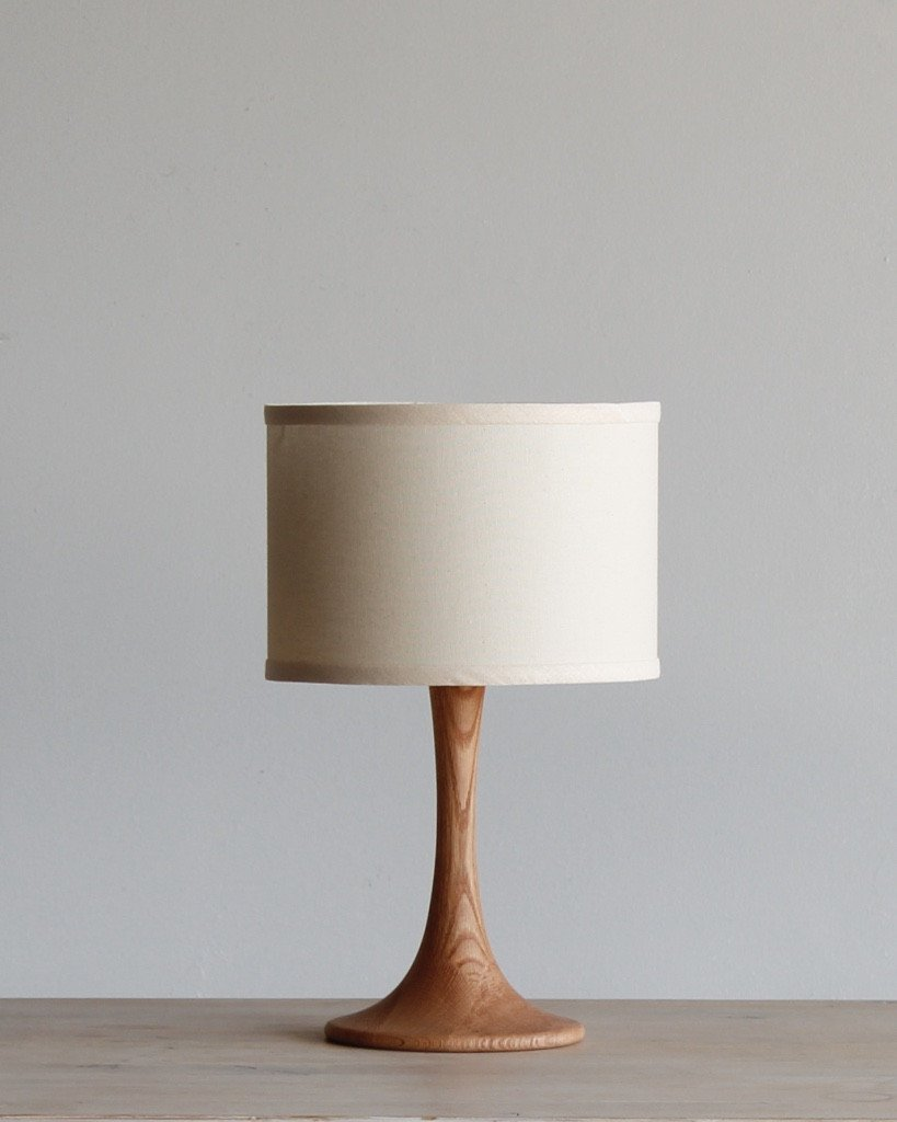 lostine trumpet small wood desk lamp ivory shade