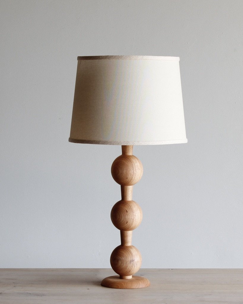 Lostine hugo wood table lamp natural finish ivory shade
