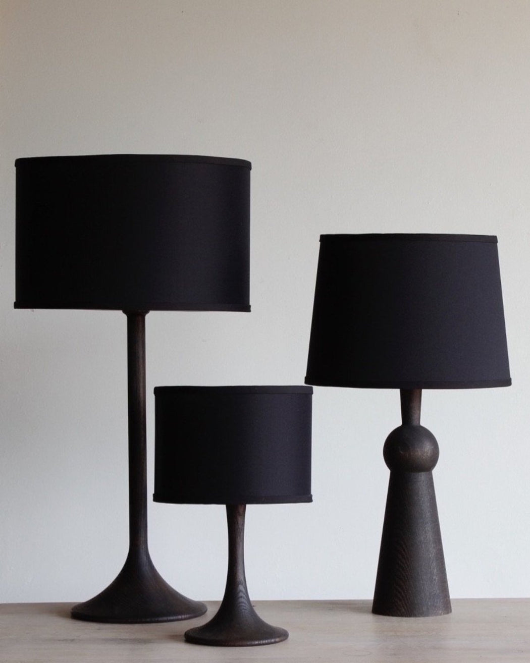 Lostine Wooden Table Lamps  Black With Black Shades ...